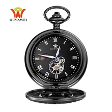 2017 OYW Hand Winding Mechanical Black Pocket Watch Men Vintage Skeleton Dial necklace pendant Male Fashion Chain Watches Gifts