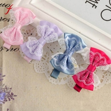 2017 New Fashion Cute Lace Bowknot Hair Clips Baby Girl Hairpin Child Hair Accessories Buckle Grampo De Metal Para Cabelo(China)