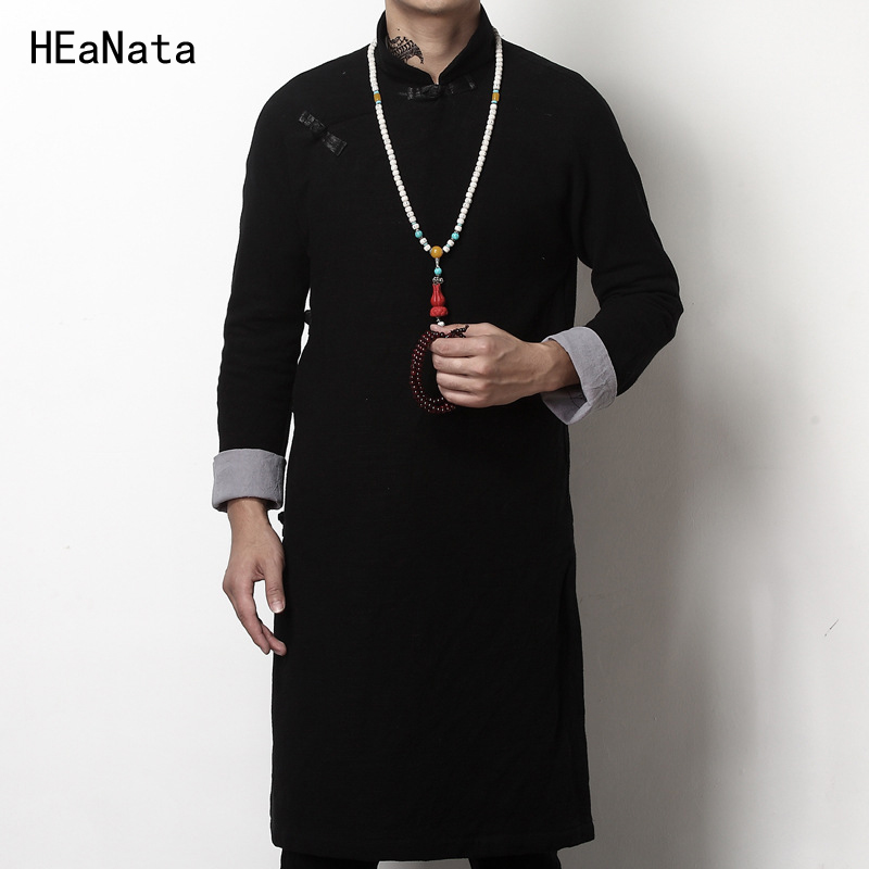 Long Length Jacket Men Trench Cotton Linen Fabric Male Jacket Coat Windbreaker Size Plus Chinese Tang Suit Dress Men 5XL