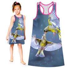 Summer Style Girl clothing Casual Dress Fashion Kids Baby Girls Dresses Bird lovers Print Children Dress Designer Kids Clothes(China)