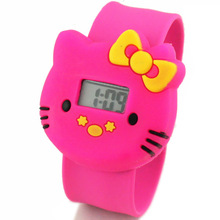 2017 New Cartoon Hello Kitty Watches Children's pat KT cat jelly time Student children Digital Watches women men wristwatch