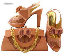 Fashion design Peach color Shoe with Matching Bag Set with rhinestones African Women Matching Italian Shoe and Bag Set hot sales(China)