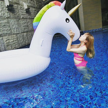 78 Inch Summer Swimming Pool Giant Inflatable Unicorn Adult Air Mattresses Floating Row Swim Rings Holiday Party In Water Toy(China)