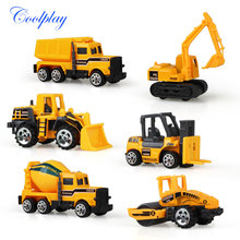 Coolplay 6pcs/set mini Diecasts Car alloy construction vehicle Engineering Car  Dump Truck Artificial Model Toys For boy kids