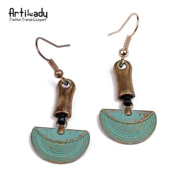 Artilady zinc alloy drop earrings vintage antic gold plated copper delicate earrings for women jewelry party