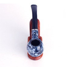 10pcs Tobacco Pipe Cigarette Smokes Tools Retro Smoking Dry Bong Wood Resin Figurines Miniatures pipes for smoking weed grass(China)