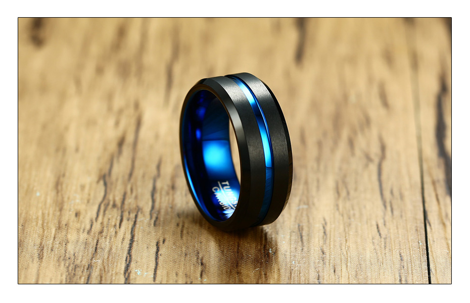 Meaeguet Black Tungsten Carbide Ring For Men Women Matte Finished Wedding Bands Trendy Blue Carbon Fiber Groove Rings Jewelry (5)