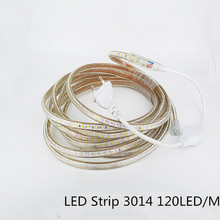 Super bright  220V AC  LED Strip 3014  IP67 Waterproof  120LEDs/M  Flexible Light + Power Plug  For outdoor garden tape rope