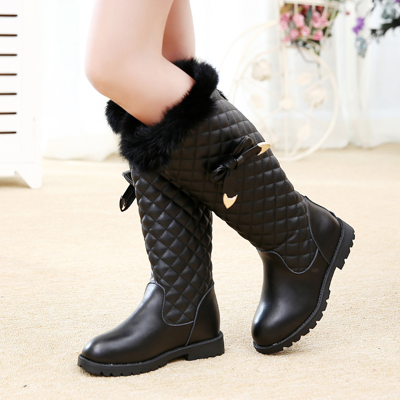 Children Geninue Leather  Boots Winter Bow Knee-high Fashion Girls Boots Cotton Fabric Waterproof Martin Snow BootsGirls Shoes<br>