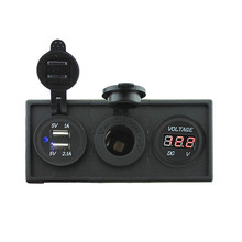 12V/24V 3.1A Dual USB Socket&Adapter And 12V Led Voltmeter With For Car Boat Truck RV(China)