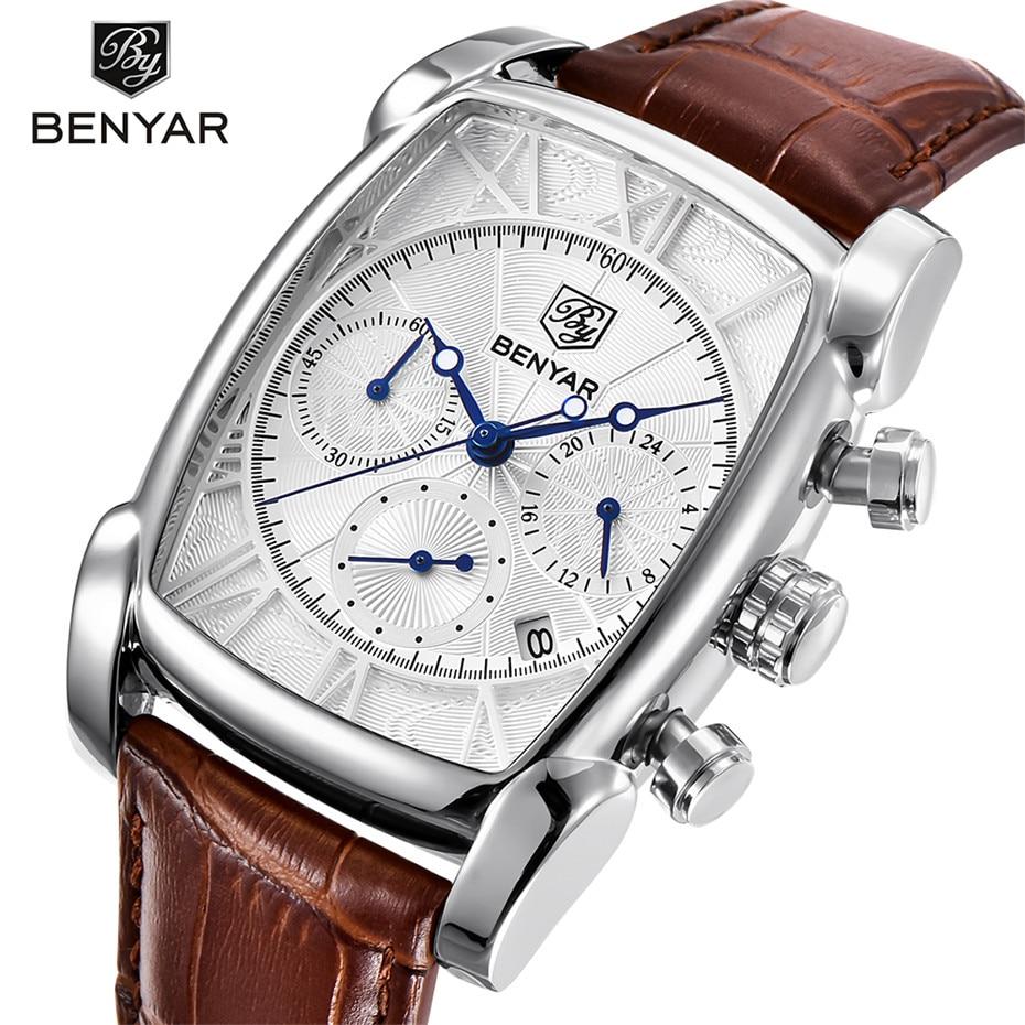 BENYAR Classic Rectangle Case Sport Chronograph Mens Watches Genuine Leather Band Quartz Watch Waterproof Quartz Calender Clock<br>