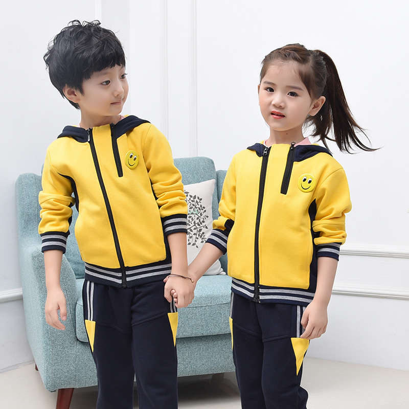 Autumn New Product Boys Girls Class School Uniform Small And Medium Child Pure Cotton Motion Suit 2 Pieces Kids Clothing Sets<br>