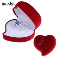 Heart Shape Red Velvet Engagement Ring Box Jewelry Display Storage Foldable Case For Wedding Ring Valentine's Day Gift Organizer
