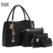 BRIGGS 2016 New Arrival 4 PCS/Set Handbag PU Leather Women Handbags Girls Shoulder Bags High Quality Women Messenger Bags Tote(China)