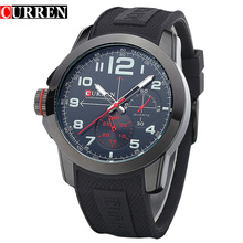 CURREN Men Sport Military Quartz Watches Fashion Official Watch Analog WristWatch with Silicone Band Relogio Masculino