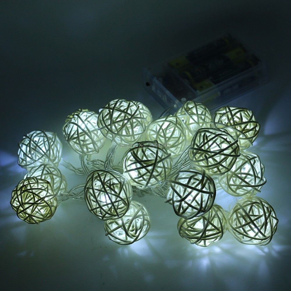 AA Battery Operated 2M 20 LED Rattan Ball Shape String Lamp Lights Wedding Christmas Holiday Party Decoration DIY -B119