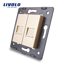 Manufacture Livolo,The Base Of  Socket /Outlet /Plug For DIY Product, 2 Gangs Computer Socket  VL-C7-2C-13
