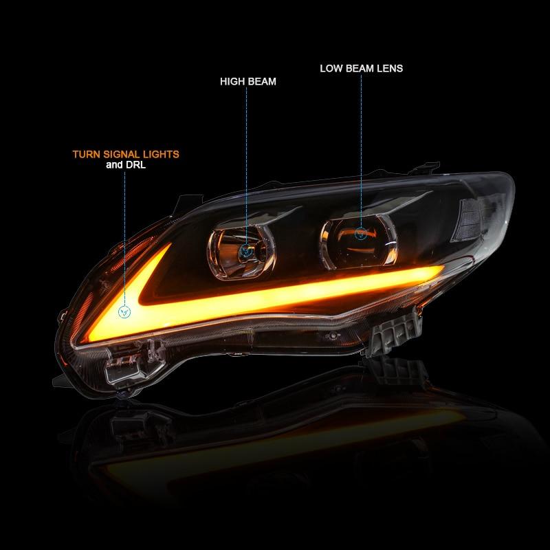 CNSUNNYLIGHT For Toyota Corolla 2011 2012 2013 Car Headlights Assembly With LED DRL Turn Signal Lights Plug & Play Head Lights (8)
