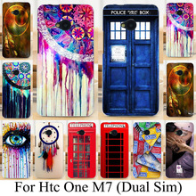 Soft TPU Hard plastic Phone Cases for HTC ONE M7 802W 802D 802T (Dual Sim) Dreamcatcher Telephone Booth Letters Series Cases bag