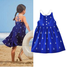 2017 Summer Baby Girls Dresses Anchor Print Blue Sundress for Girls Beach Holiday Children Dress Kids Clothes Vestido(China)