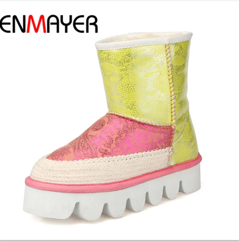 ENMAYER Big Size34-44 high quality Sheepskin Warm platform Snow Boots Round Toe Med Winter Boots Mixed Colors Ankle Boots Hot<br><br>Aliexpress