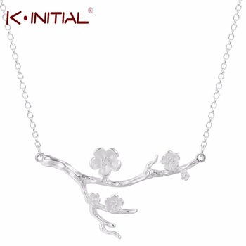 Kinitial 1Pcs 925 Silver Chains Necklaces Women Romantic Cherry Blossom Pendant Necklace Accessories Sweater Chain Necklace