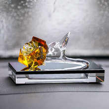 Crystal Yellow Rose Figurines Car Perfume Bottle Holder Air Freshener for Car Home Office Decor Paperweight Flower with Gift Box