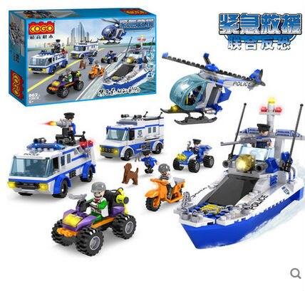 COGO 13918 Police Series Teamwork Police Helicopter Car Boat 862pcs Building Block Sets Educational DIY Bricks Toys<br><br>Aliexpress