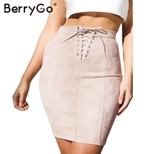 Buy BerryGo Casual suede pencil skirt women Tie autumn high waist skirt Elegant streetwear winter mini skirts womens 2017 for $16.99 in AliExpress store