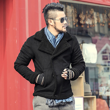 Men's short double breasted jacket coat casual thick Wool lining outwear Winter jacket Men Windproof Faux leather jackets coats(China)