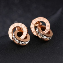 Buy Trendy Stud Earings Fashion Jewelry 2017 Rose Gold Bulgaria Earrings Women Stainless Steel AAA Zirconia Stud Round Earrings for $3.14 in AliExpress store