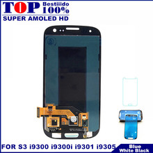 For Samsung Galaxy S III S3 i9300 i9300i i9301 i9301i i9305 Super AMOLED LCD Display Touch Screen Digitizer Assembly Sticker