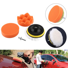 "5Pcs 4"" Car Polishing Buffing Pad Kit Tool For auto Polisher Buffer Pad M10 Drill Set Car Polishing sponge Wheel Kit polisher(China)"