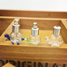 100pieces 22.5*17*11mm SCREW CAP cute turtle glass vial pendant Perfume essential oil charm name on rice art wishing bottle