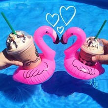 1pc Mini Cute flamingo floating inflatable drink Coke Can holder for Pool Bath Kid Toy Gifts(China)