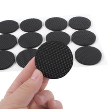 12Pcs 4.4cm Black Self Adhesive Floor Protectors Furniture Sofa Table Chair Rubber Feet Pad Round for Protect Tables Chair Leg