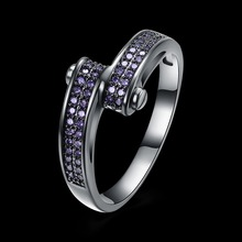 Fashion jewelry Special offer Free Shipping Double row purple Crystal from Swarovski fit Wedding Party for Women's Fine Rings(China)