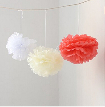 6PCS Coral Ivory White Tissue Paper Flower Pom Poms Pompoms Wedding Birthday Anniversary Party Christmas Girls Room Decoration