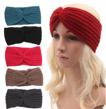 Wholesale Women's Knitted Wide Headband Knit Hair Band Headbands Winter Ear Warmer Crochet Headband Pattern Hair Accessories(China)