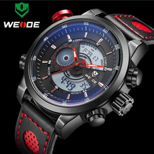 2017 NEW WEIDE Luxury Brand Men's Quartz LED Watches Men Fashion Casual Sports Clock Genuine Leather Military Wrist Watch(China)