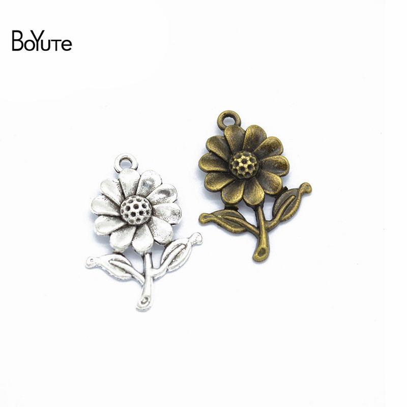 BoYuTe (50 PiecesLot) Metal Alloy 2818MM Sunflower Pendant Charms for Jewelry Making Diy Hand Made Accessories Wholesale (3)