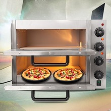 (Ship from Germany) Electric Pizza Oven Double Deck CE Commercial Baking Fire Stone Catering Kitchen