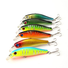 6pcs/lot Colorful 8.5CM/8.5G 3D Fish Eyes Fishing Lure Artificial Minnow Hard baits tackle with Hooks Reflective Fake Bait