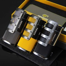 COHIBA Gridding Stripes Jet Flame Cigarette 3 Torch Cigar Lighter W/Punch
