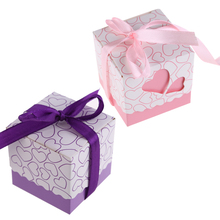 100pcs Love Heart Pink Laser Cut Small Candy Bag Wedding Gift Boxes Party Favor With Ribbon Casamento Bridal Baby Shower Decor