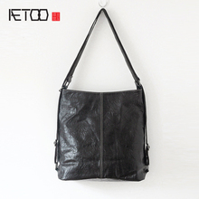 AETOO New leather handbags simple and casual hand grip pattern wrinkles head layer of leather bag soft leather ladies handbag(China)