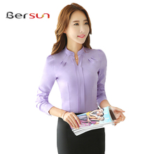 New Elegant Autumn Winter OL Office Long Sleeve Plus Size Ladies Chiffon Shirt Red White Casual Long Sleeve Womens Work Blouses