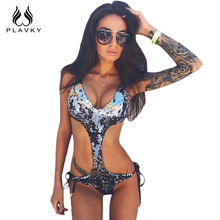 Buy PLAVKY Sexy Halter Black Silver Sequin ShinyTrikini Swim Bathing Suit Monokini Thong Swimwear Women Cut One Piece Swimsuit