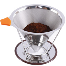 Double Mesh Pour Over Coffee Dripper Permanent Reusable Stainless Steel Durable Coffee Filter with Coffee Cup Stand(China)