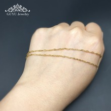 GUFEATHER DIY Chain Gold Stainless Steel 18K gold chain Cross chain Very fine chain 1.4MM * 3.5MM  100CM